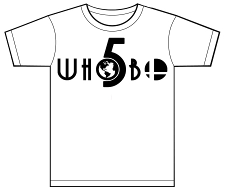 Whobo 5 Logo Wht Shirt with Blk and Gold 5